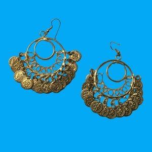 "5/$20 Golden Coins 3.2"" Drop Statement Earrings"